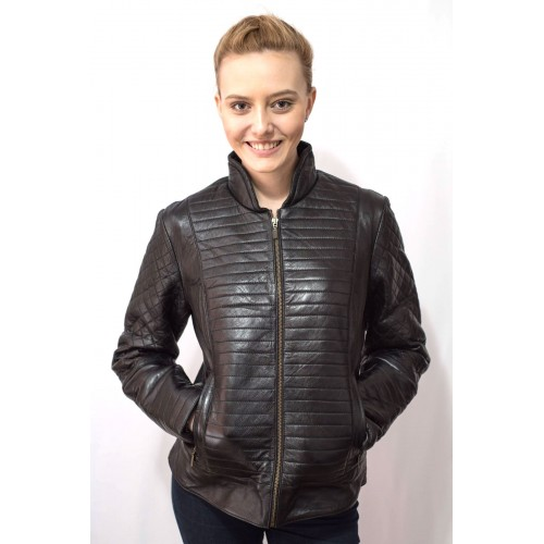 Jacheta dama neagra din piele naturala BF002