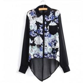 Bluza cu croiala asimetrica si imprimeu multicolor floral