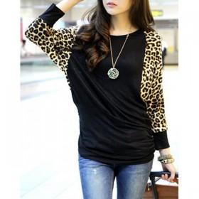Bluza cu maneci lungi ,largi cu imprimeu leopard