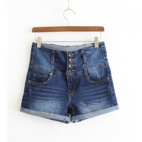 Pantaloni scurti din material de blugi prespalat