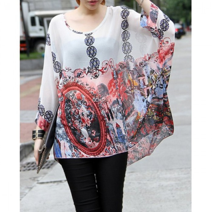 Bluza dama de vara imprimeu floral maneci lungi