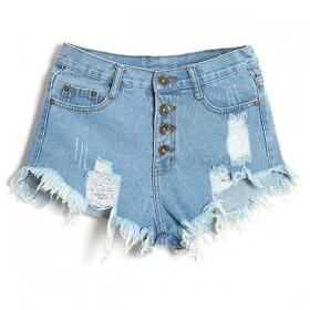 Pantaloni scurti de dama din jeans prespalati cu aspect deteriorat