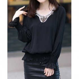 Bluza dama neagra cu maneci lungi din shifon