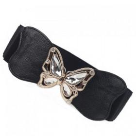 Curea de dama, elastica cu piele si catarama metalica, fluture