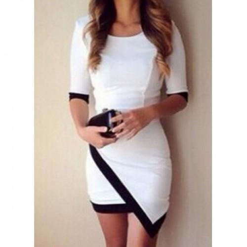 Rochie mini cu maneci trei sferturi, aspect asimetric alb negru