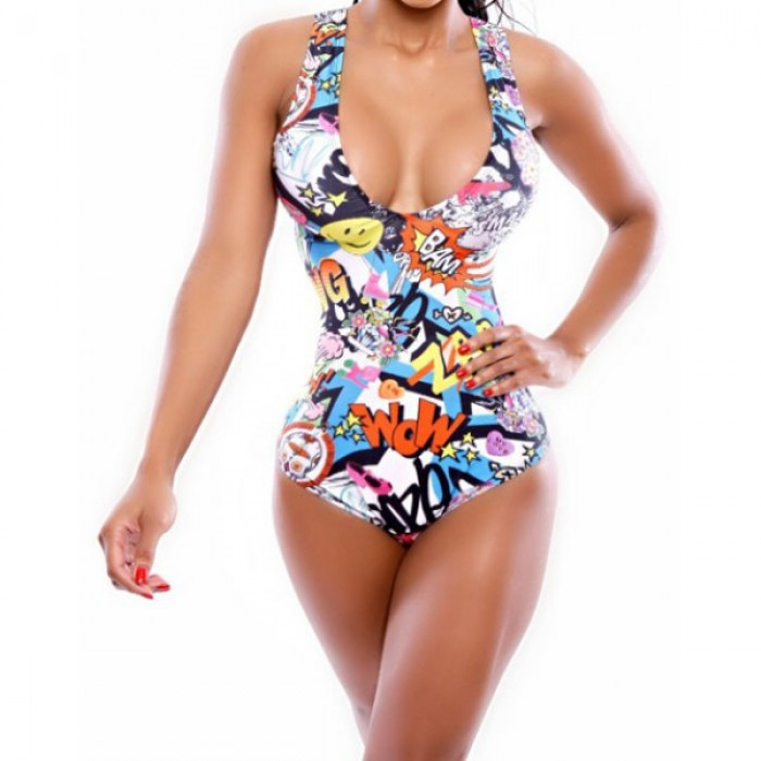 Costum de baie intreg din material complet imprimat multicolor