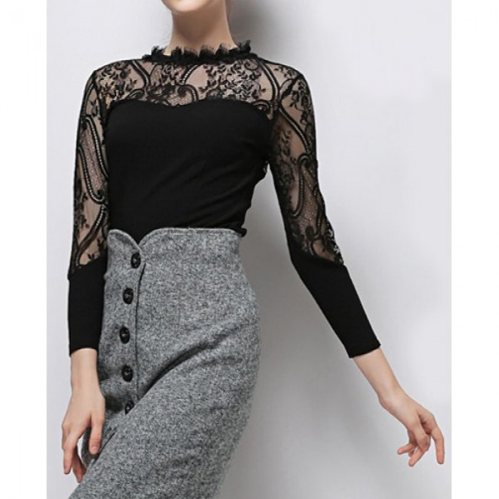 Bluza dama maneci lungi guler rotund material design combinatie de dantela