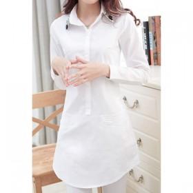 Bluza alba lunga cu guler decorat cu margelute