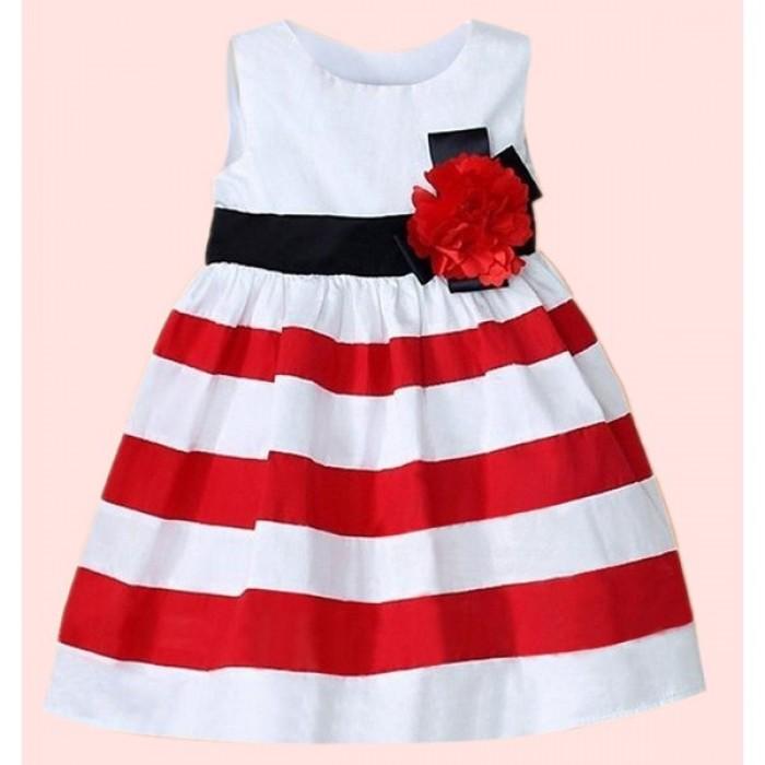 Rochie fete fara maneci in dungi decorata cu floare