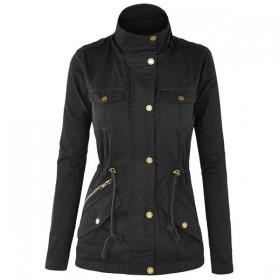 Jacheta dama trei sferturi cu guler ridicat