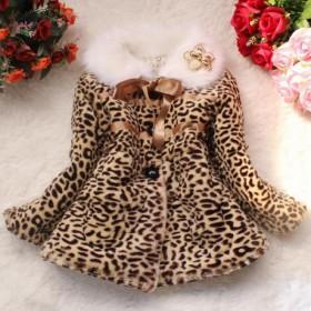 Haina de iarna cu guler imblanit, imprint leopard, fete.