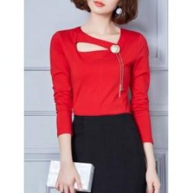 Bluza dama rosie maneci lungi guler rotund design