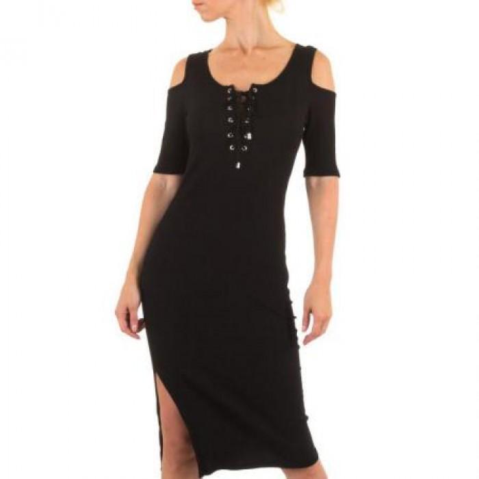 Rochie lunga neagra cu siret
