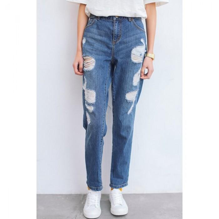 Blugi(jeans) dama stil boyfriend cu aspect deteriorat