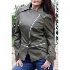 Jacheta dama imitatie piele cu fermoare