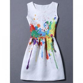 Rochie fara maneci cu imprimeu multicolor