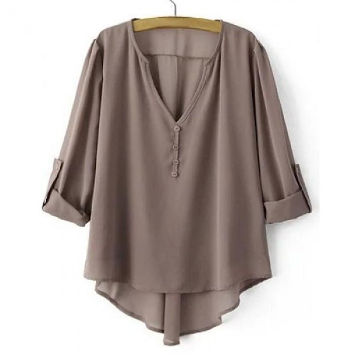 Bluza dama cu guler in V maneci ajustabile si croiala asimetrica