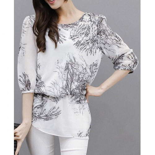 Bluza cu maneci trei sferturi din shifon