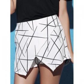 Pantaloni scurti-fusta cu croiala asimetrica