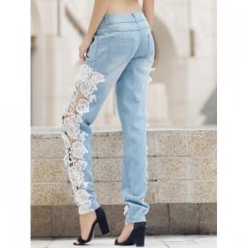 Blugi(Jeans) dama din material jeans in combinatie cu dantela