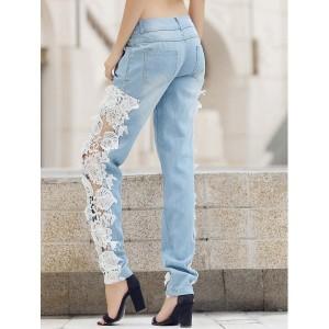 Blugi dama din material jeans in combinatie cu dantela