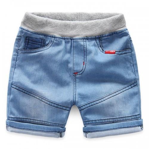Pantaloni scurti denim, prindere cu elastic in talie.