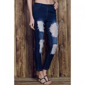 Blugi(Jeans) dama gauriti si fasonati cu dantela