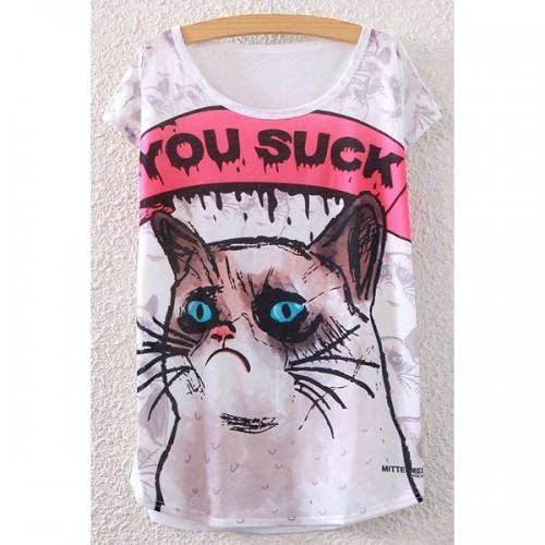 Tricou dama cu guler rotund si imprimeu pisica