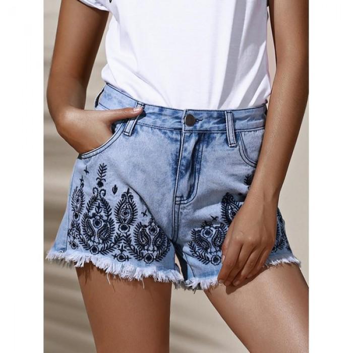 Pantaloni jeans scurti dama cu talie inalta  brodati