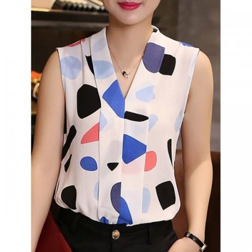 Bluza dama cu guler in V fara maneci imprimeu multicolor