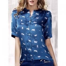 Bluza dama de vara cu maneci scurte albastra