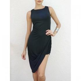 Rochie de club mini cu design asimetric neagra