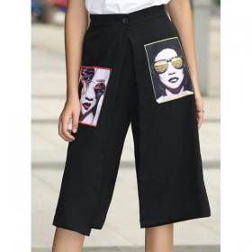 Pantaloni dama trei sferturi largi cu imprimeu trendy