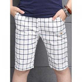 Pantaloni trei sferturi, in carouri, talie elastica
