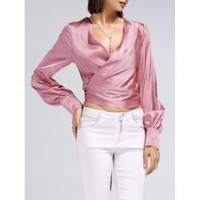 Bluza dama eleganta decolteu in V si inchidere la spate cu cordon in funda