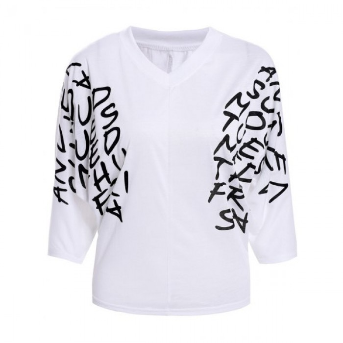 Bluza cu maneci trei sferturi si imprimeu cu litere