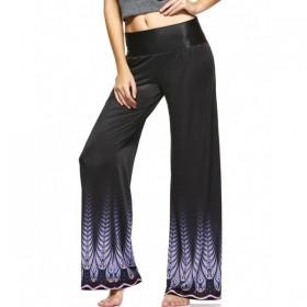 Pantaloni dama croiala largi mijloc elastic material cu imprimeu