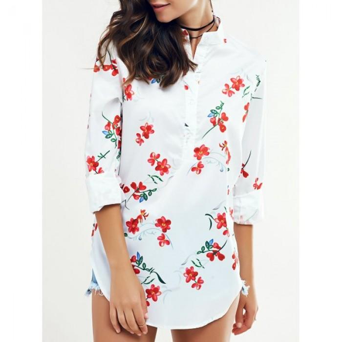 Bluza lunga cu guler ridicat, maneci lungi si imprimeu floral