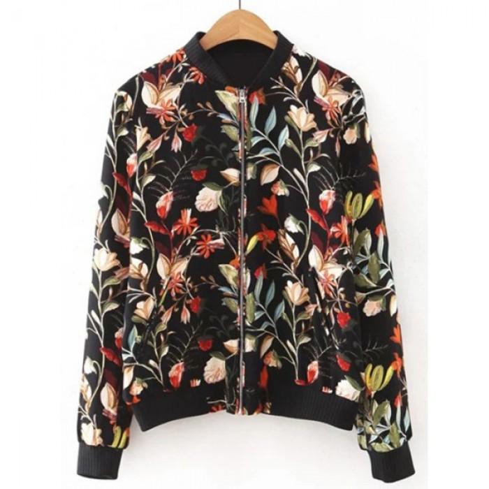 Jacheta dama design floral inchidere fermoar