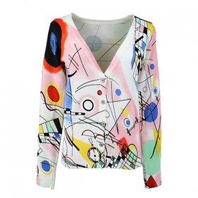 Cardigan dama imprimeu abstract inchidere nasturi