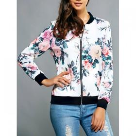 Jacheta dama tip bluza cu fermoar si imprimeu motive florale