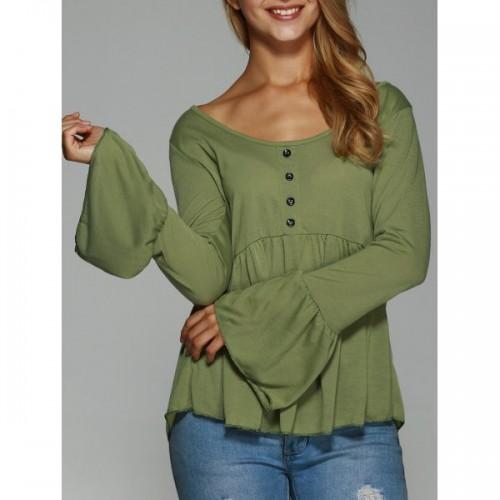 Bluza dama maneci lungi largi guler rotund design cu nasturi