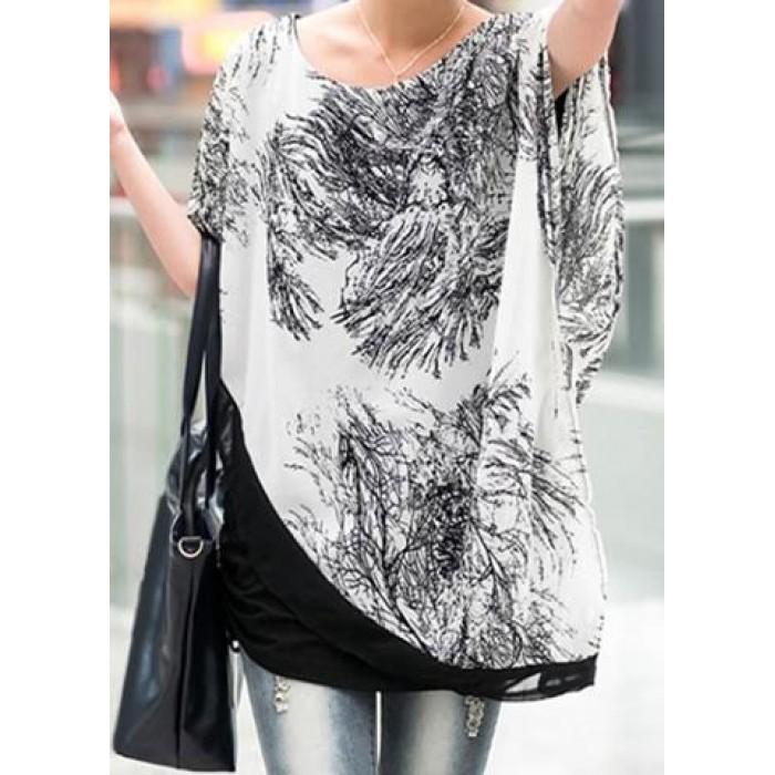 Bluza (top) cu imprimeu alb/negru