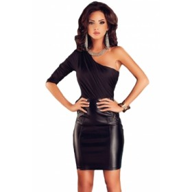 Rochie mini, combinatie de imitatie piele cu top textil.