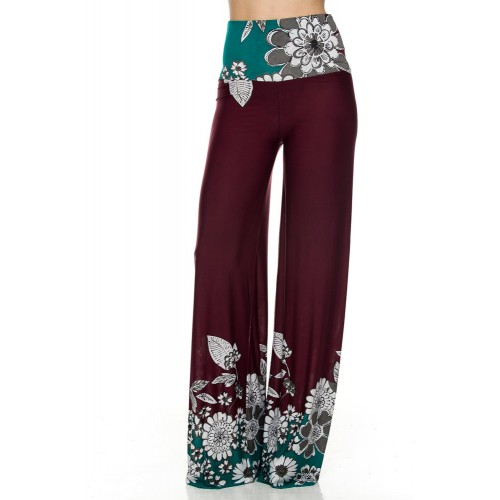 Pantaloni Palazzo cu motive florale si tiv nefinisat