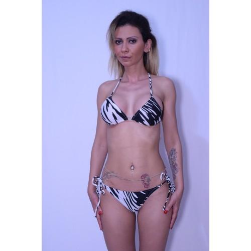 Costum de baie DIVA alb cu negru