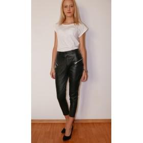 Pantaloni piele naturala cu fermoare