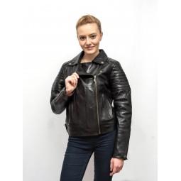 Jacheta neagra de dama din piele naturala BF001