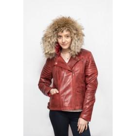 Jacheta dama rosie-vintage din piele naturala cu gluga detasabila BF003
