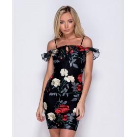 Rochie de vara PARISIAN negru cu flori brodate
